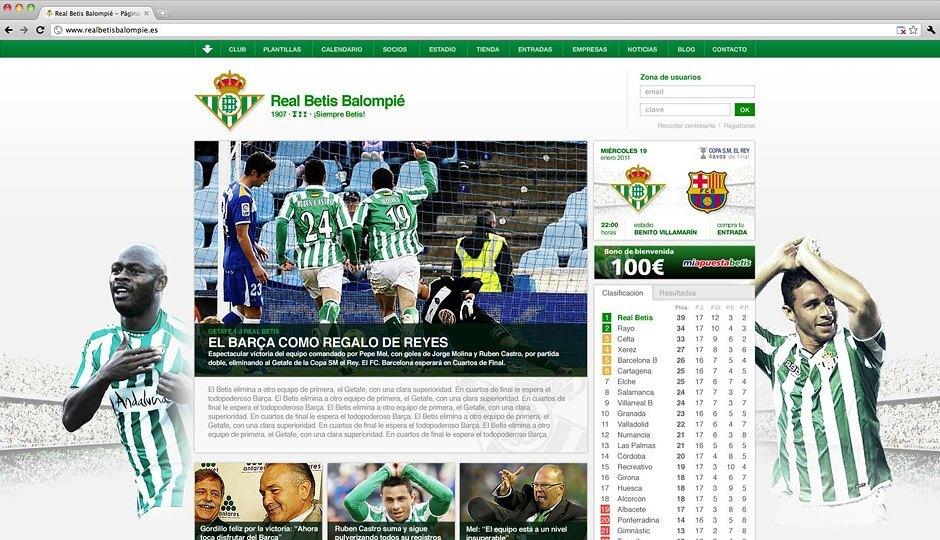El nuevo diseño de la web del Betis